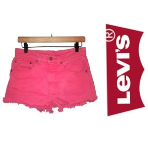 Levis 512 Hi Rise Cut Off Fringe Jean Shorts Pink